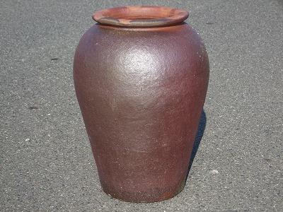 大壷【焼締め】大 大きい壺 シック 傘立て 飾り インテリア 壺