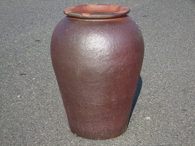 大壷【焼締め】小 大きい壺 シック 傘立て 飾り インテリア 壺
