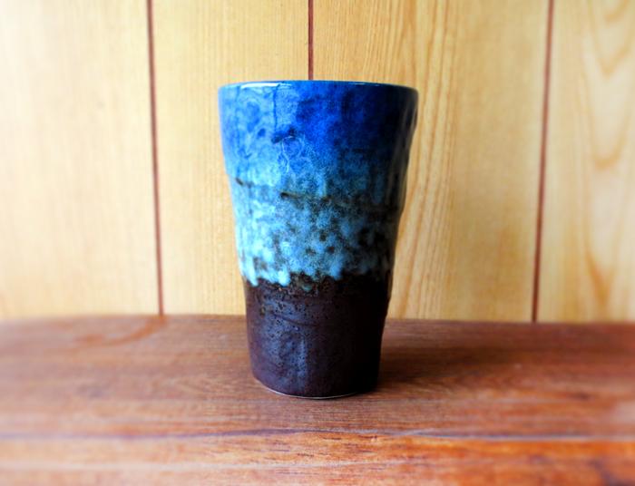 深みのある色合いが素敵なビールコップ ぜひ 冷やしてお使いください \クーポン配布中 森の湖ビールコップ 酒器 タンブラー NEW 爆買い送料無料 ARRIVAL ビールグラス stockヤ 国産 ビアグラス 藍色 日本製 和食器 美濃焼