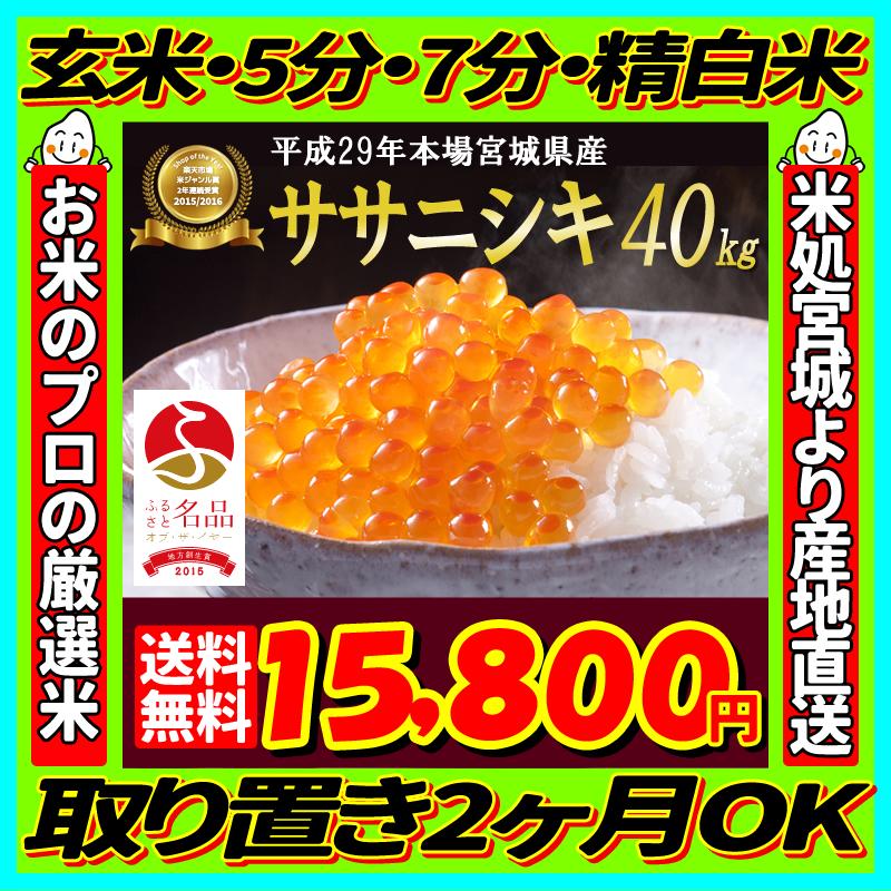29年産 宮城県産 ササニシキ 40kg 玄米,5分,7分,精白米(精米時重量約1割減) 【米】【dp】【SS09】