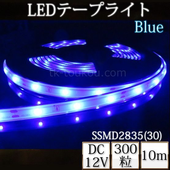 LEDテープライト シリコンチューブ TK-SSMD2835(30)-B-10 青色 30粒/m 単色 IP67 10m DC12V 屋外使用可能 ジャック付外径5.5mm×内径2.1mm DIY ※点灯するには別途ACアダプターが必要です あす楽
