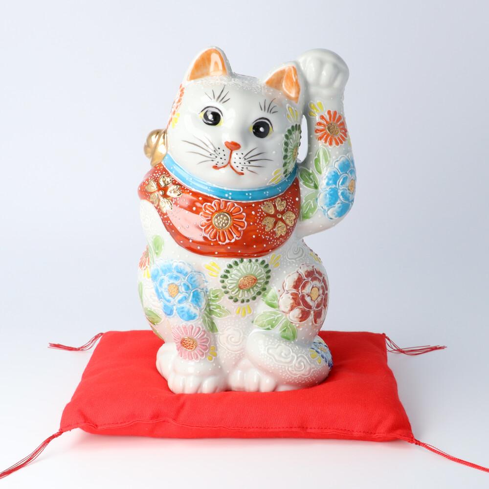 九谷焼 6.5号招猫 白盛牡丹菊 <送料無料>置物 縁起物 招き猫 人気 ギフト お祝い/結婚祝い