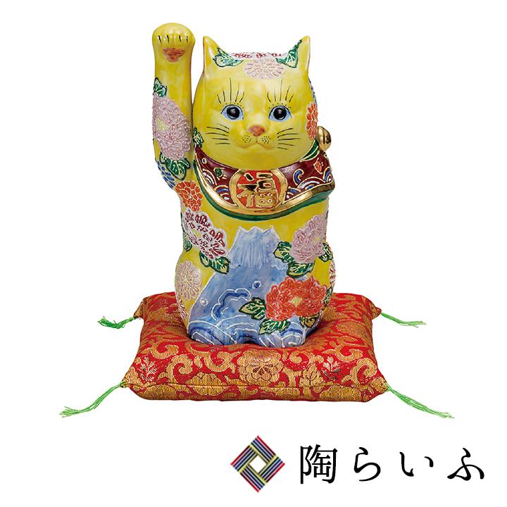 九谷焼 7号招き猫 花づくし<送料無料>九谷焼 置物 縁起物 招き猫 人気 ギフト お祝い/結婚祝い
