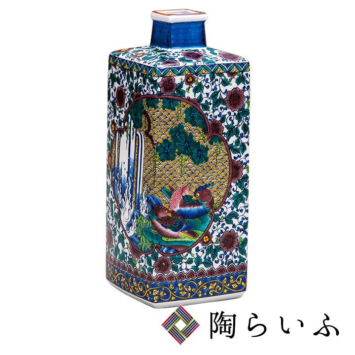 九谷焼 8号花瓶・間取花鳥<送料無料 花瓶 花器 ギフト 人気 贈り物 結婚祝い/内祝い/お祝い>