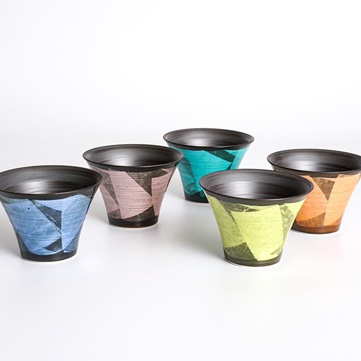 <陶らいふ限定商品>5色から選べる 銀彩 いれこ碗 小 5点セット<和食器 小鉢 人気 ギフト セット 贈り物 結婚祝い/内祝い/お祝い>