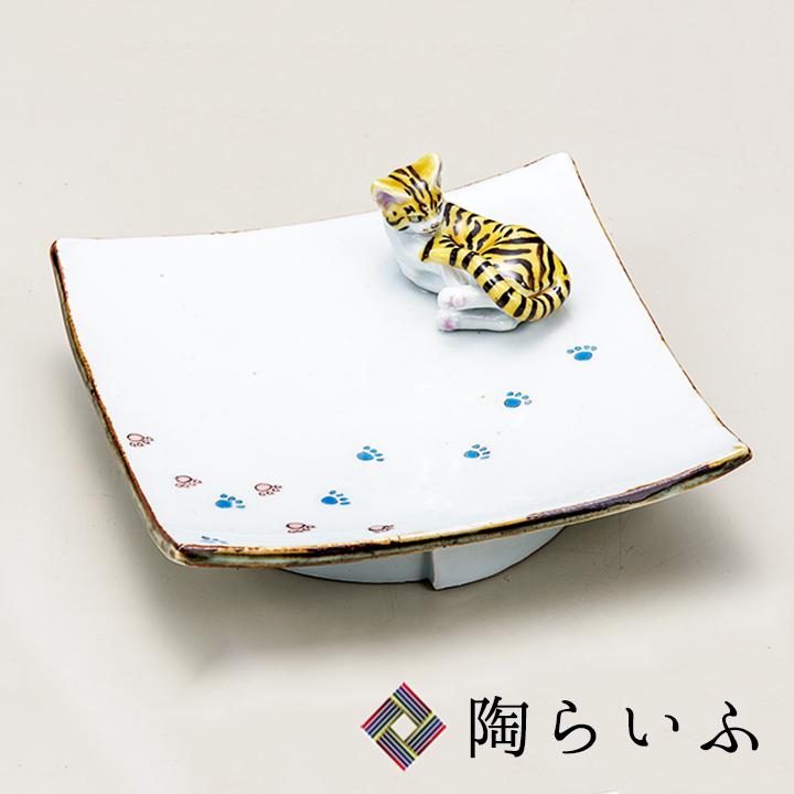 九谷焼 5.5号台皿 猫/文吉窯<九谷焼 皿 置物 飾皿 人気 お祝い>