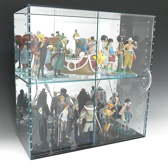 コレクションラック アクリル ガラス色 W450×H300×D200 背面ミラー 引き戸タイプアクリル板 アクリルケース 物入れ クリア プラスチックケース 透明ケース アクリルBOX アクリルボックス