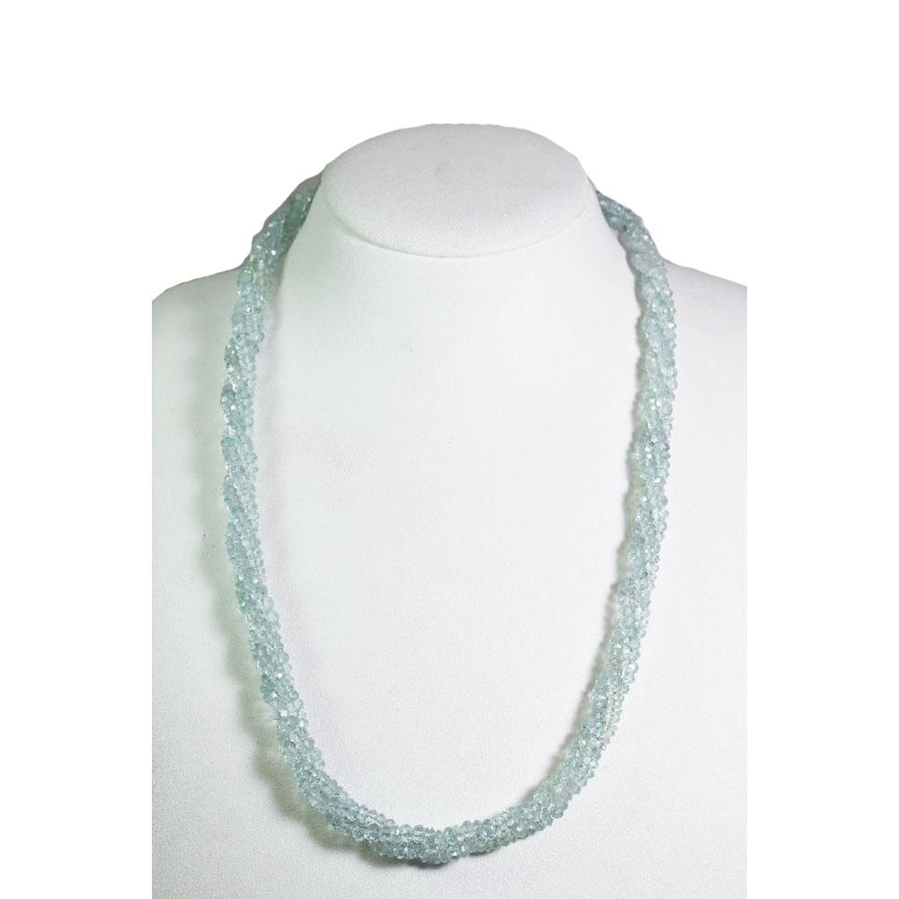 【よりどり10%OFF】アクアマリン 3連 ネックレス 金具 シルバー クロムメッキ 3月 誕生石 AQN-23