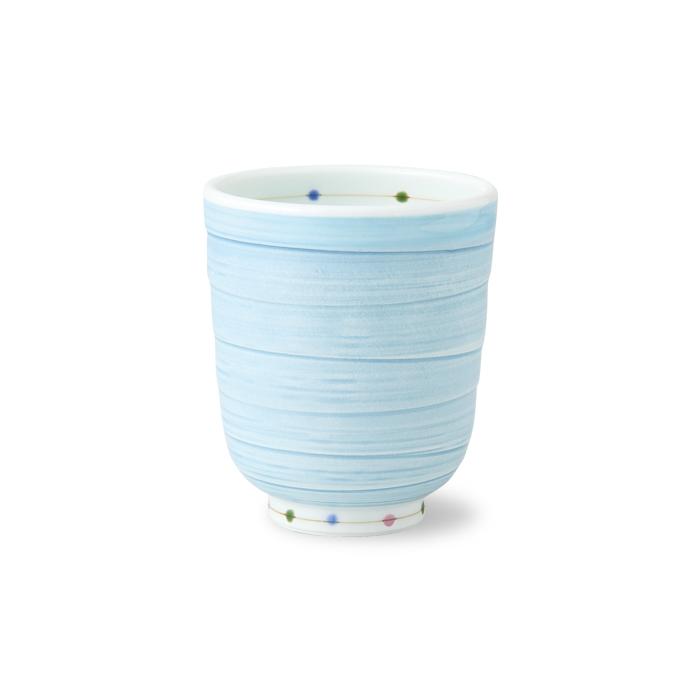 波佐見焼 カラードット 軽量湯呑(大・青) 200ml はさみ焼 磁器 ゆのみ お茶 茶器 日本茶 緑茶 和食器 湯飲み HASAMI おしゃれ