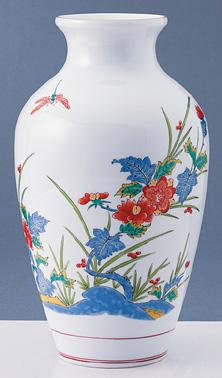 有田焼 弥左ェ門窯 錦岩牡丹 花瓶(壷) 送料無料