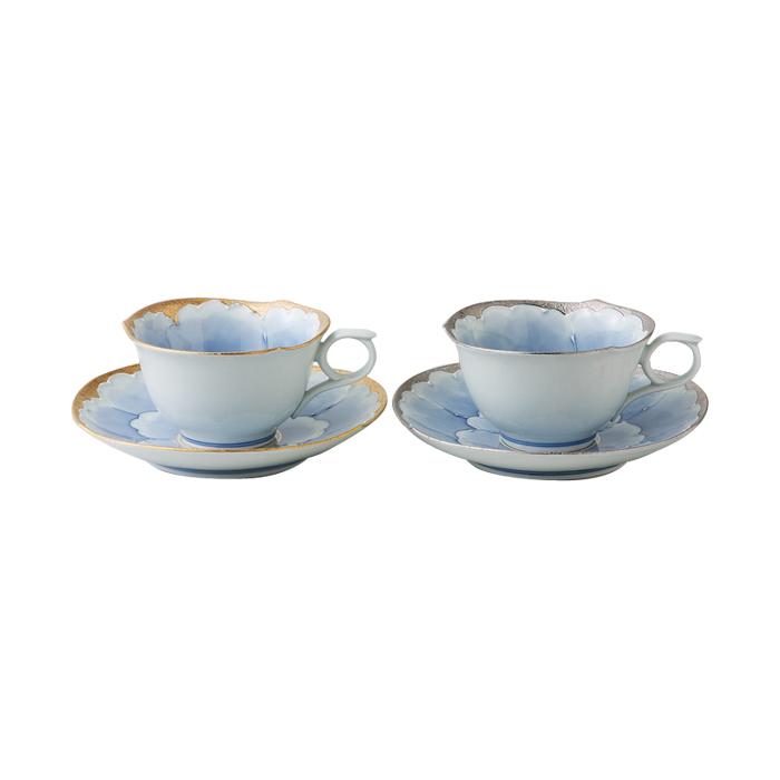 有田焼 文山窯の手仕事 金とプラチナのペアのコ-ヒーカップ(珈琲碗皿)・西海陶器株式会社 送料無料