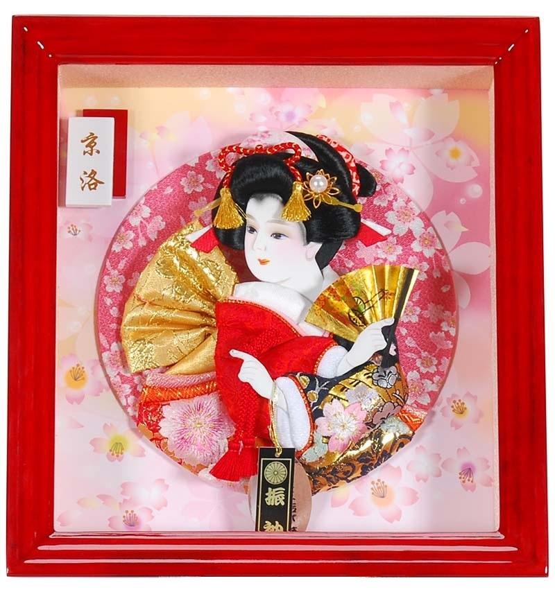 羽子板 初正月 壁掛け コンパクト ケース飾り 額飾り 正月飾り 羽子板 [京洛(きょうらく) 羽子板額] (赤塗)