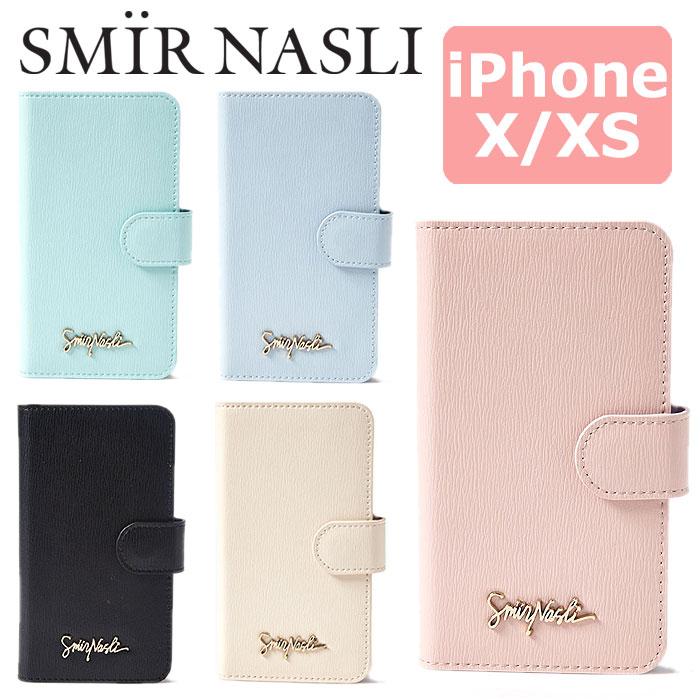 サミールナスリ iphoneケース 送料無料 SMIRNASLI iPhoneX iPhoneXS 対応 手帳型 SMIR NASLI モバイルケース スマホケース Simply Mobile Case 011431908 iPhone10 テン ブランド おしゃれ 可愛い カードケース ミラー アイフォン シンプル パステル