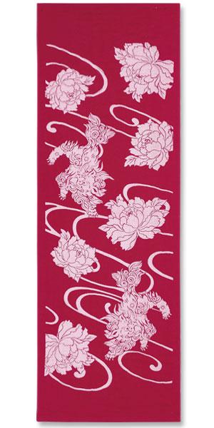 酷麻花 ★ 傳統模式往往降低頭部涼爽紗布和樁日本圖案 Tenugui (日本風格領弈 / karajishi 牡丹 karajishi 按鈕)
