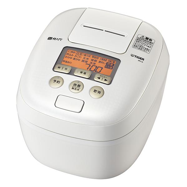 タイガー 圧力IH 炊飯器 5.5合 炊きたて 炊飯ジャー かまど熱封土鍋コーディング 少量高速炊飯 冷凍ご飯 麦めし もち麦TIGER シルキーホワイト JPC-H100-WS
