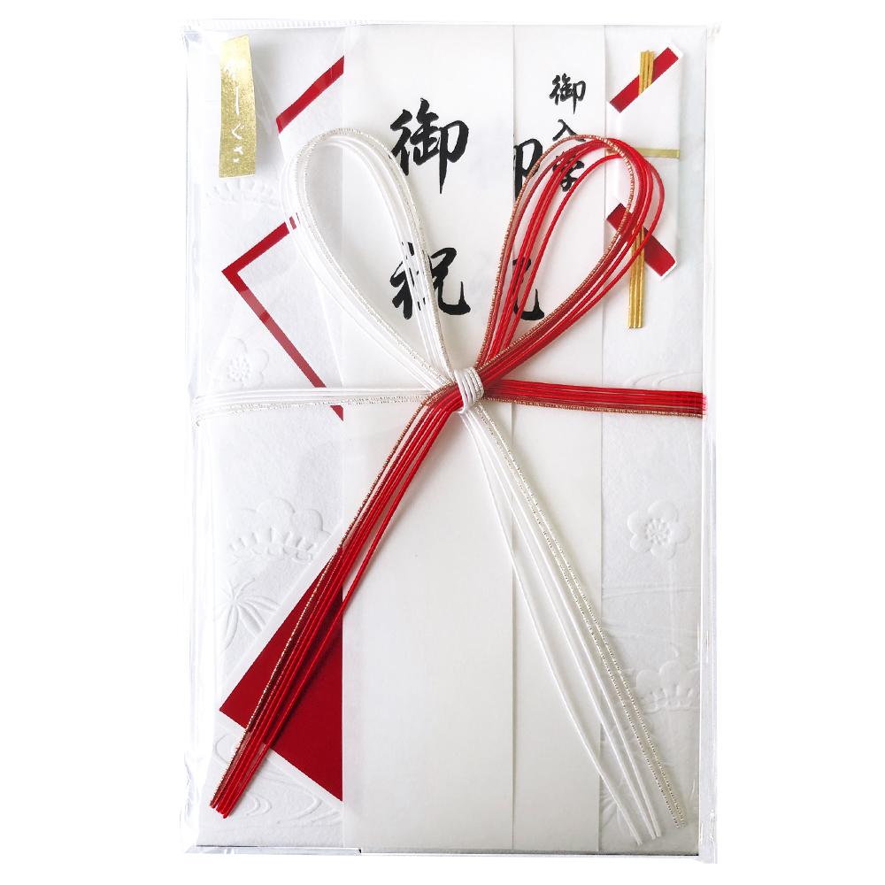 市販 和しぐさ エンボス金封 キ-WS2105 大判赤白花結 1着でも送料無料