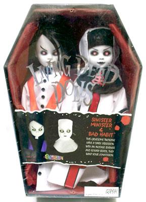 【まもなく再入荷 1705】リビングデッドドールズ(Living Dead Dolls)SINISTER MINISTER& BAD HABIT 白スペンサーギフト限定