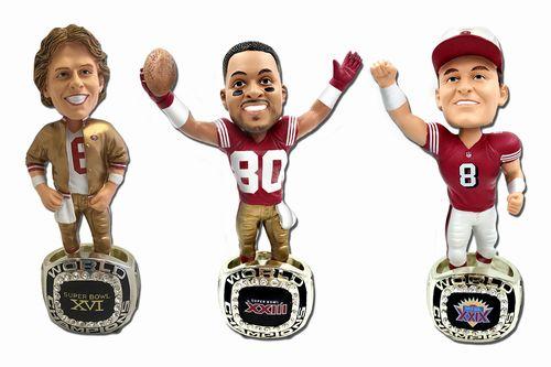 【まもなく再入荷 1805】NFL ボブルヘッド チャンピオンリング付き 3体セット/サンフランシスコ・49ers