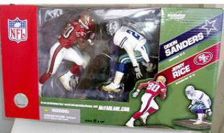 2 McFarlane toys NFL figure skating pack series / Deion Sanders vs. Jerry Rice