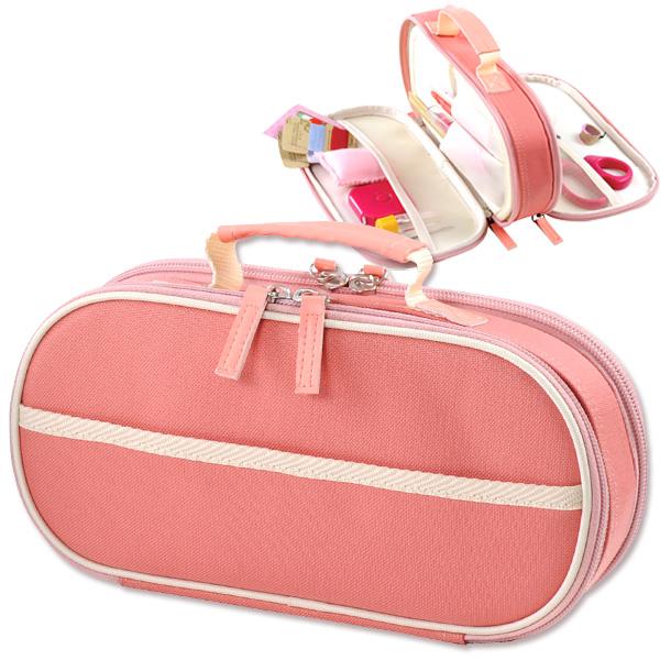 裁縫箱 裁縫道具 コンパクト ソーイングキット ソーイングボックス 現品 小学校 大人向け 家庭科 かわいい 小学生 100%品質保証 無地 裁縫セット 女の子 ソーイングセット 大人 シンプル ピンク Wファスナーバッグ