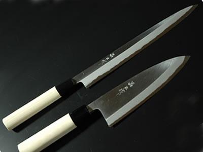 柳6寸 出刃4.5寸(片刃 白鋼 水牛柄) セット fs3gm