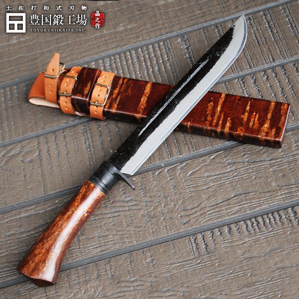 剣鉈 240mm 8寸 白鋼 両刃 桜皮細工 桜巻 木鞘 革ベルト付き シースナイフ アウトドアナイフ 和式刃物 キャンプ 登山
