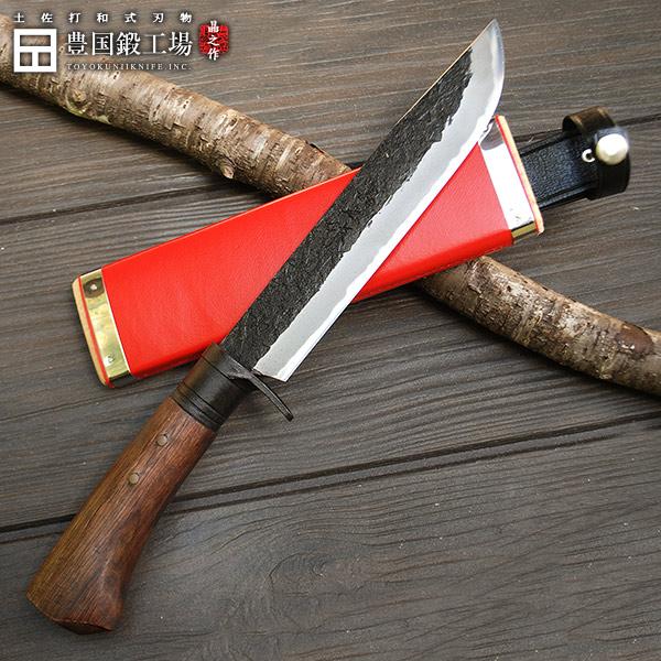 狩猟剣鉈 180mm 6寸 土佐オリジナル白鋼 木鞘赤レザー(合皮)バンド付