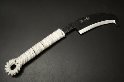 (予約販売)共柄鉈石付 約500g(刃の重さ) 両刃 青2鋼 黒 紐柄 赤合成サック
