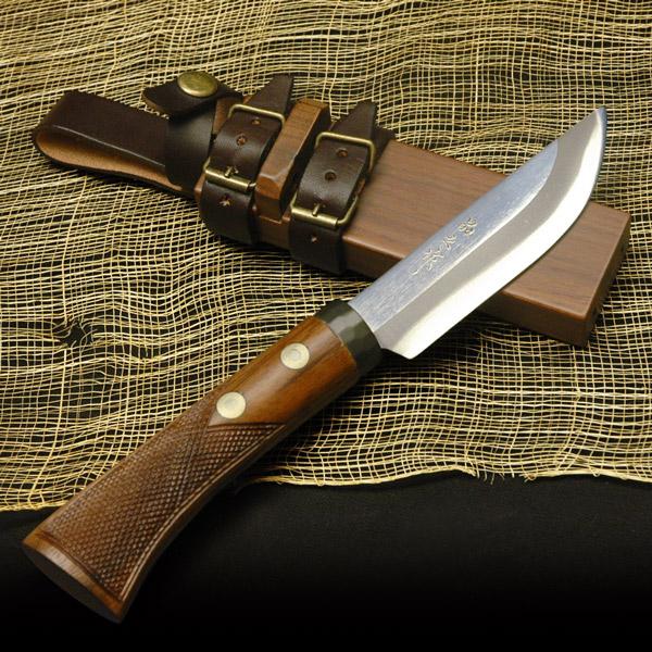 スキナーナイフ 土佐狩猟小刀110mm 和鋼 青紙スーパー鋼 両刃 解体 キャンプ アウトドア