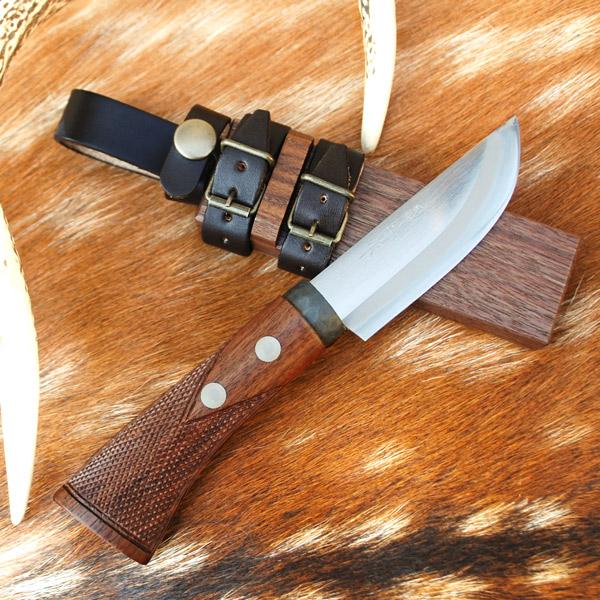 スキナーナイフ 土佐狩猟小刀100mm 和鋼 青紙スーパー鋼 両刃 解体 キャンプ アウトドア