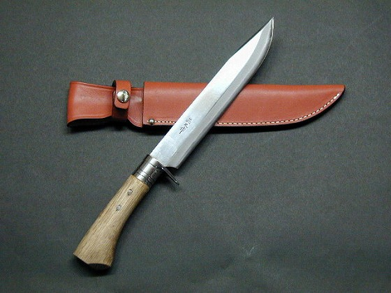 剣鉈300 両刃 白鋼 磨 樫柄 ステンツバ 皮サック 晶之作