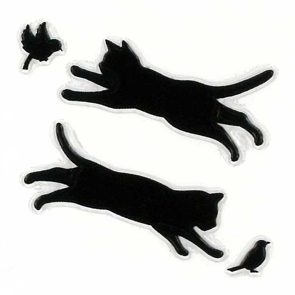 可愛らしい猫がワンポイントの蒔絵シールになって登場 スマホカバーや小物に貼れるシールです 猫 蒔絵シール Love レビューを書けば送料当店負担 cat キャット ジャンプ2匹 黒 30mm ねこ ネコ 黒猫 かわいい ワンポイント ステッカー iPhone シルエット 動物 iQOS カバー アイコス デコ ケータイ スマホ 大人気 シール