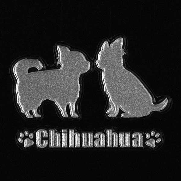 可愛らしい犬がワンポイントの蒔絵シールになって登場!スマホカバーや小物に貼れるシールです。 犬 蒔絵シール 【Love dog チワワ(2匹)銀 30mm】犬 雑貨 チワワ ステッカー ケータイ スマホ iPhone デコ ステッカー iQOS アイコス