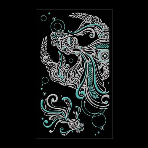 ヘナタトゥー風の蒔絵シールです 蒔絵シール MEHENDI ヘナ タトゥーステッカー 金魚と月 シルバー スマホ ステッカー 最新 カバー iPhone シール デコレーション 期間限定 ケータイ