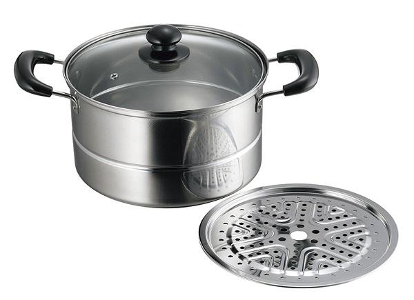 鍋 両手鍋 豪華な 蒸し鍋 IH対応 買取 S-Class 調理用品 ステンレス製兼用蒸し器22cm