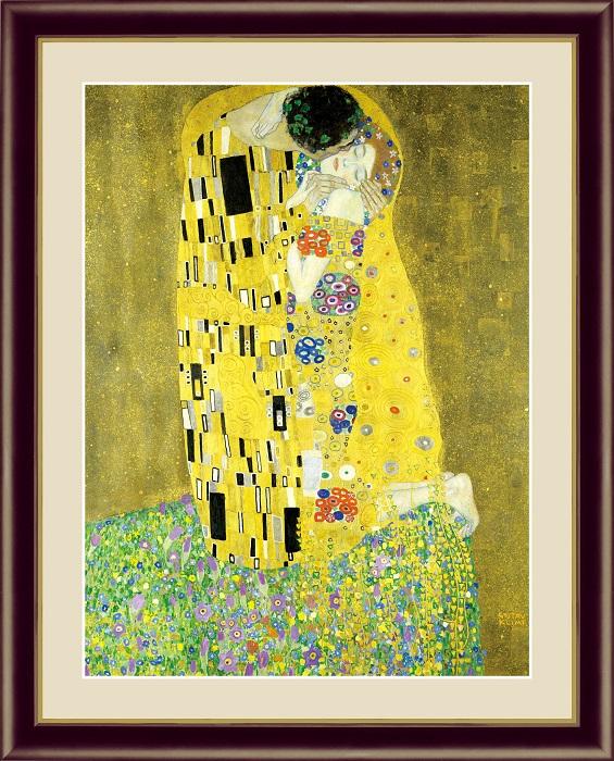 クリムト 売店 名画 版画 高級 絵画 プレゼント 接吻 F6 グスタフ 日本製