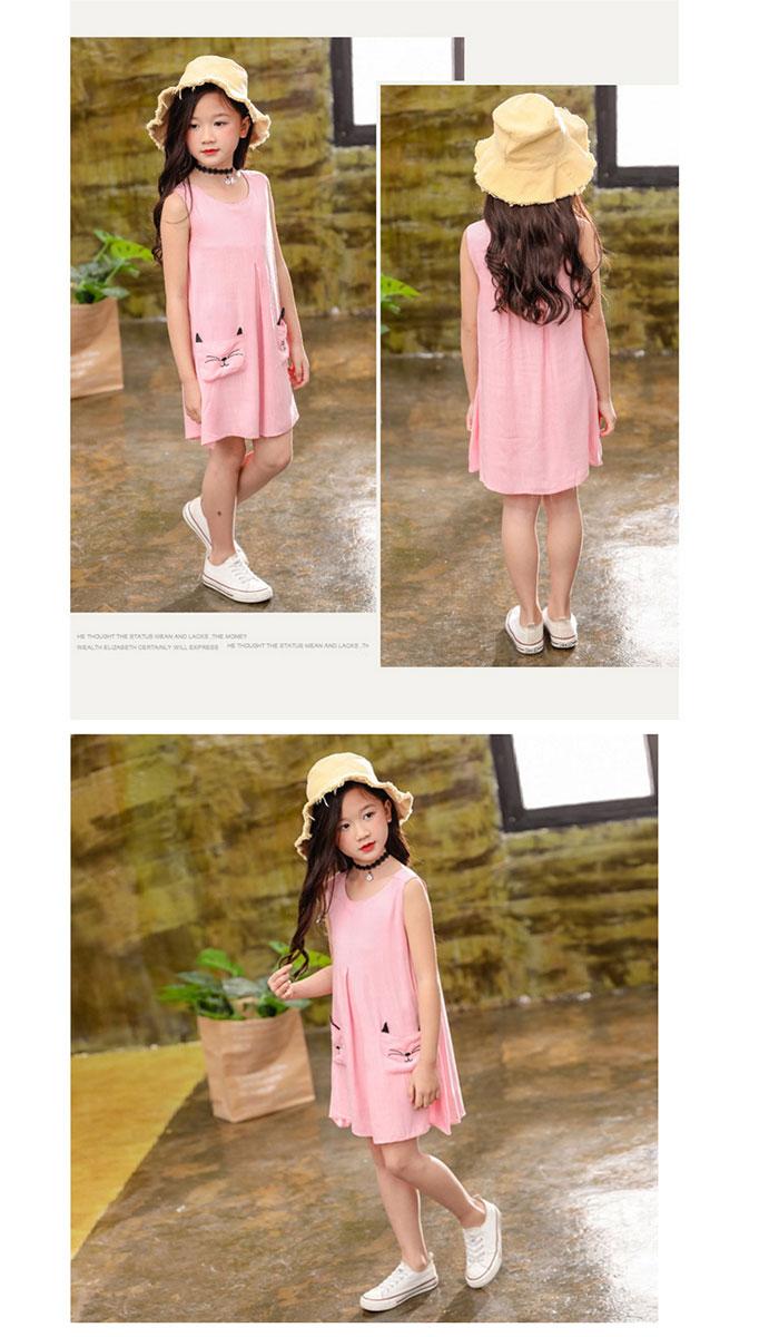 7038db9201 toysland  Linen hemp dress linen dress dress cat pattern embroidery ...