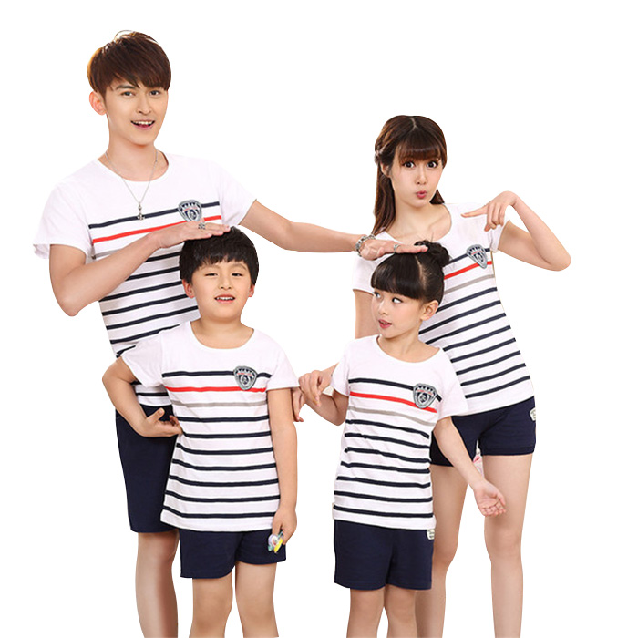 Set of the Daddy family matching clothes two points set pair t shirt  underwear horizontal stripe parent and child pair short sleeves t shirt  stripe half ...