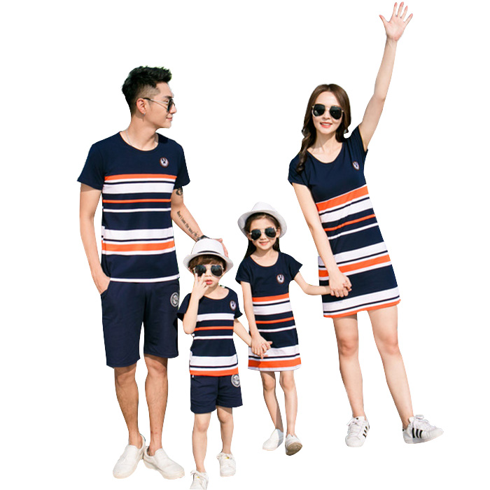 7693af4e10 Daddy family matching clothes pair t shirt parent and child pair t dress  pair look swimsuit short sleeves t shirt stripe swimsuit men parent and  child ...