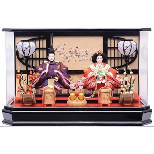 【雛人形】ベビーザらス限定 ケース親王飾り「枝桜刺繍格子付六角アクリル」【送料無料】