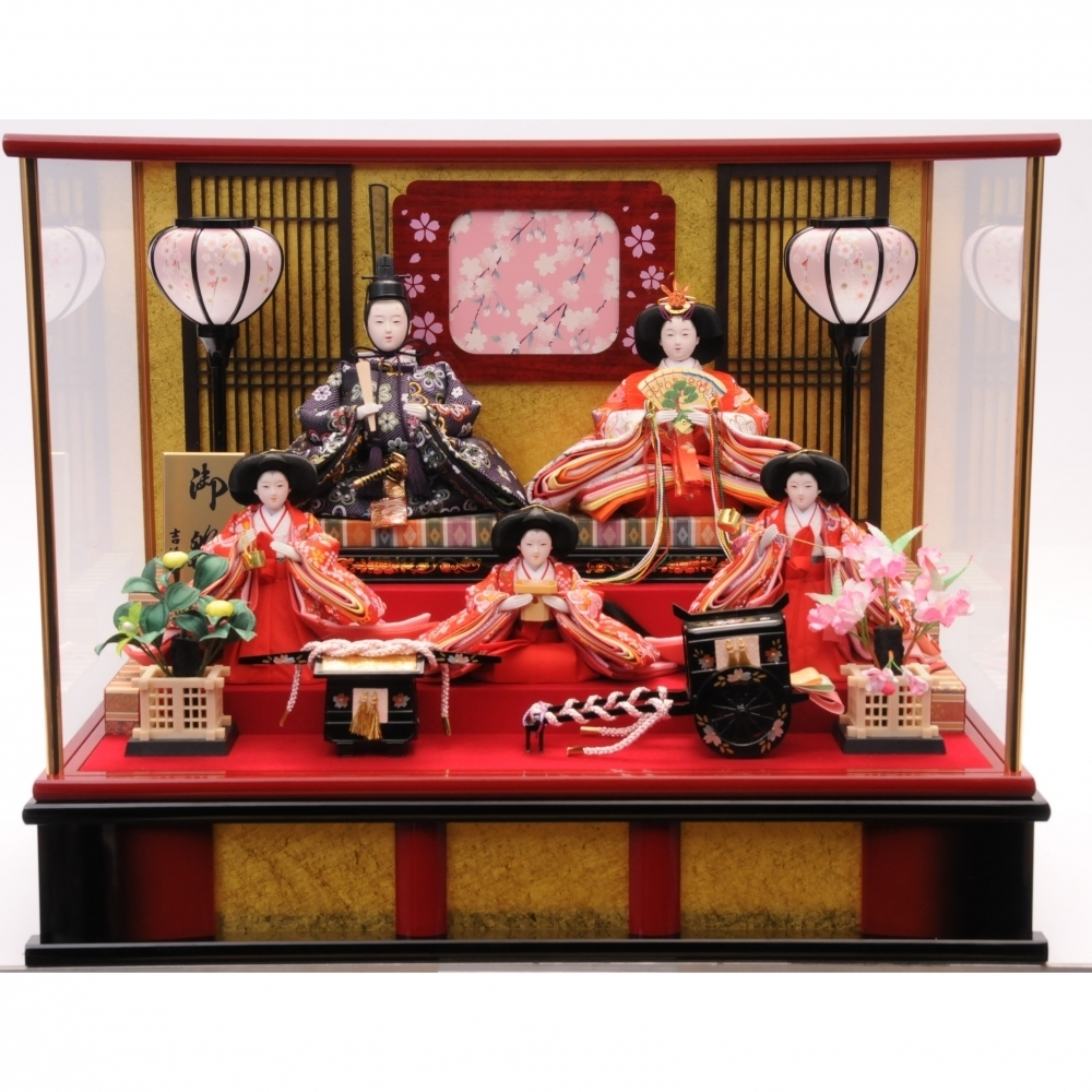 【雛人形】ベビーザらス限定 ケース五人飾り「格子付名入桜」【オンライン限定】【送料無料】