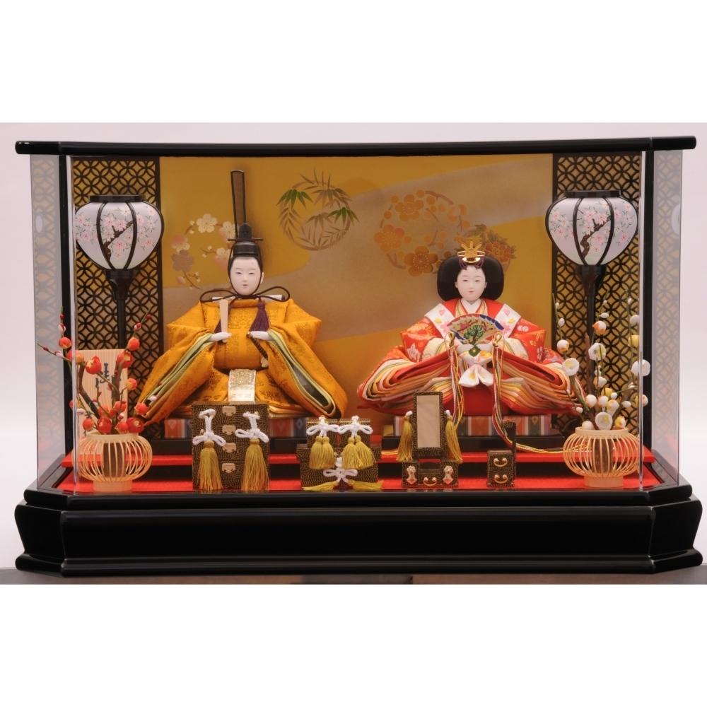【雛人形】ベビーザらス限定 ケース親王飾り「優艶黒塗六角アクリル」【送料無料】