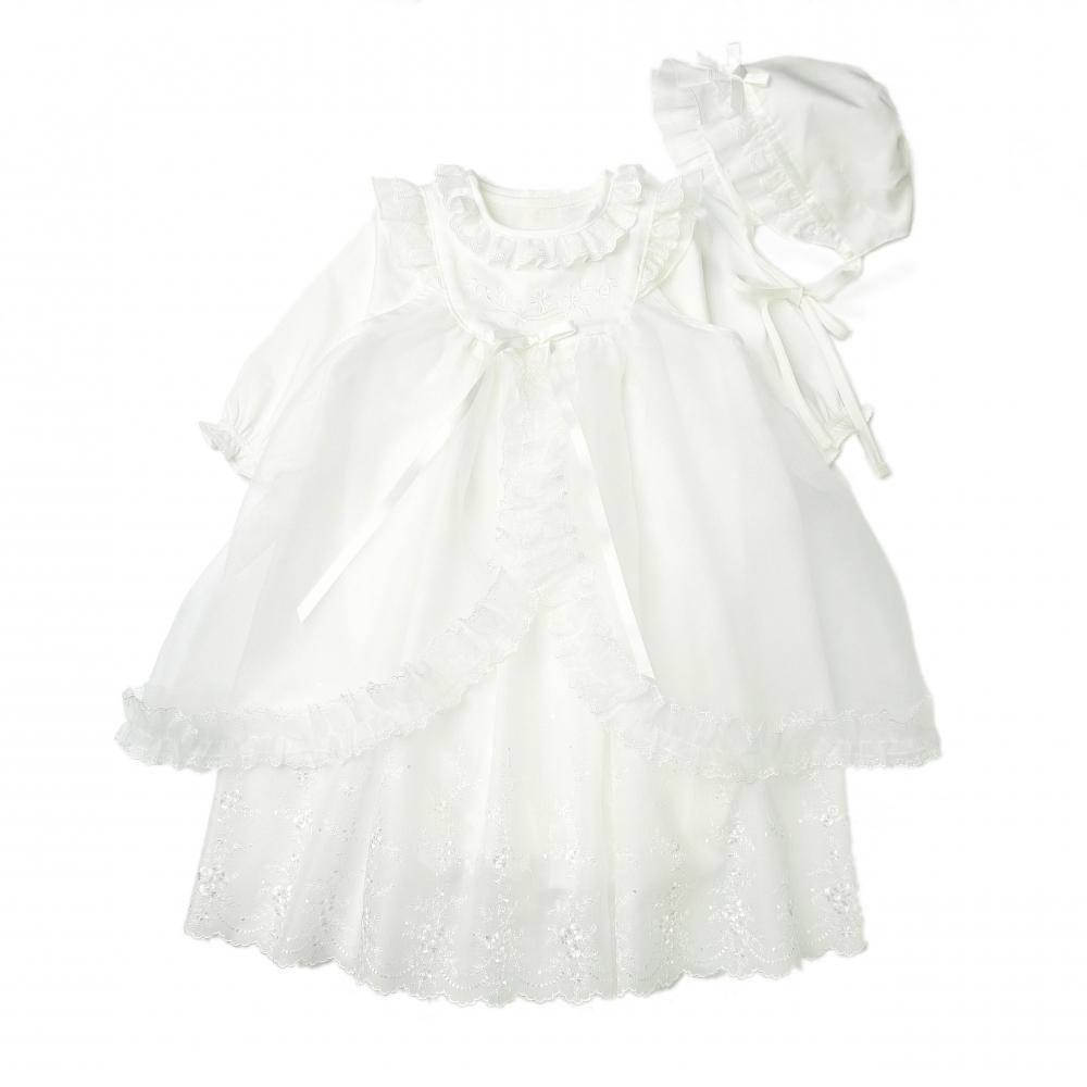 【愛情設計】外出用ドレス 低刺激素材(オフホワイト・50~70cm)夏用 (日本製)【送料無料】