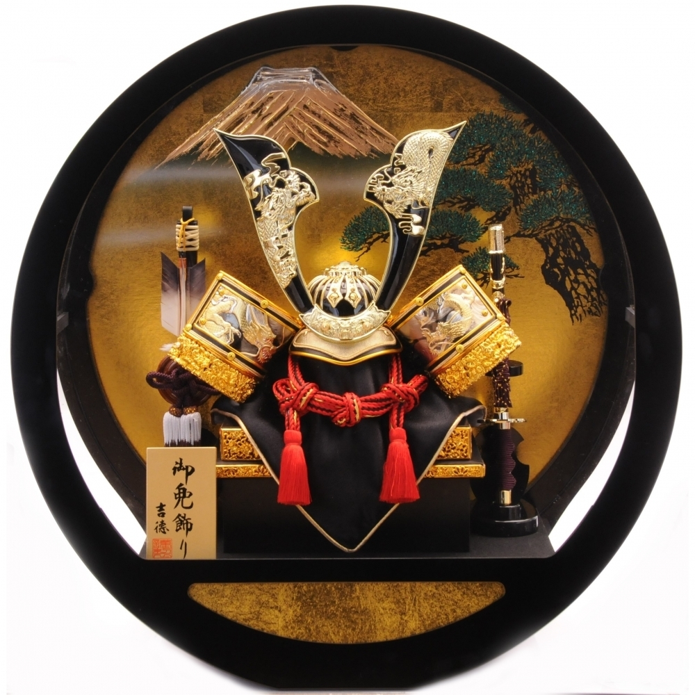 【五月人形】ベビーザらス限定 兜ケース飾り「双龍富士松 丸形アクリル」【送料無料】
