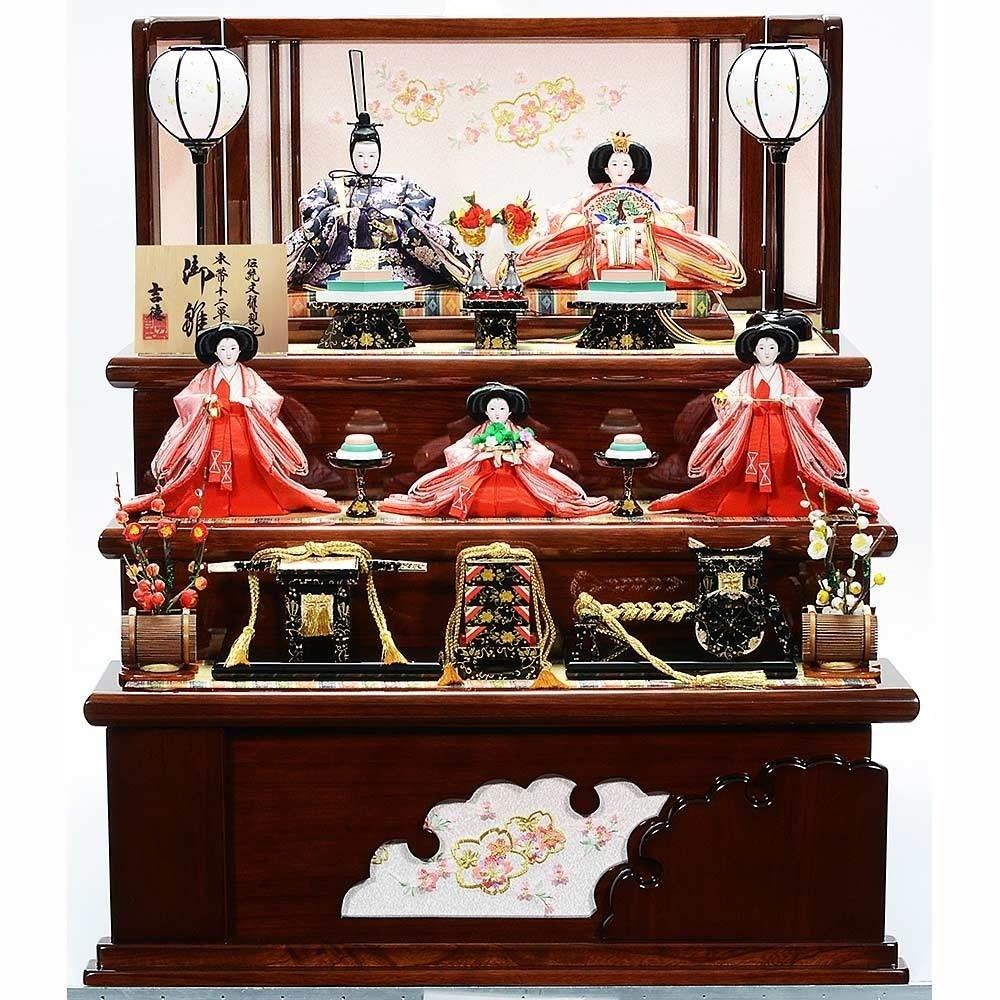 【雛人形】ベビーザらス限定 三段収納五人飾り「桜刺繍雪輪抜き形」【送料無料】