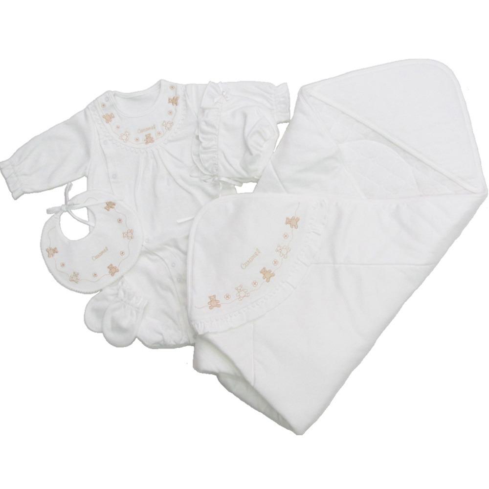 【オンライン限定】スーピマスムースバイオ加工 新生児ウエアセット 5枚(オフホワイト・50-70cm)【送料無料】