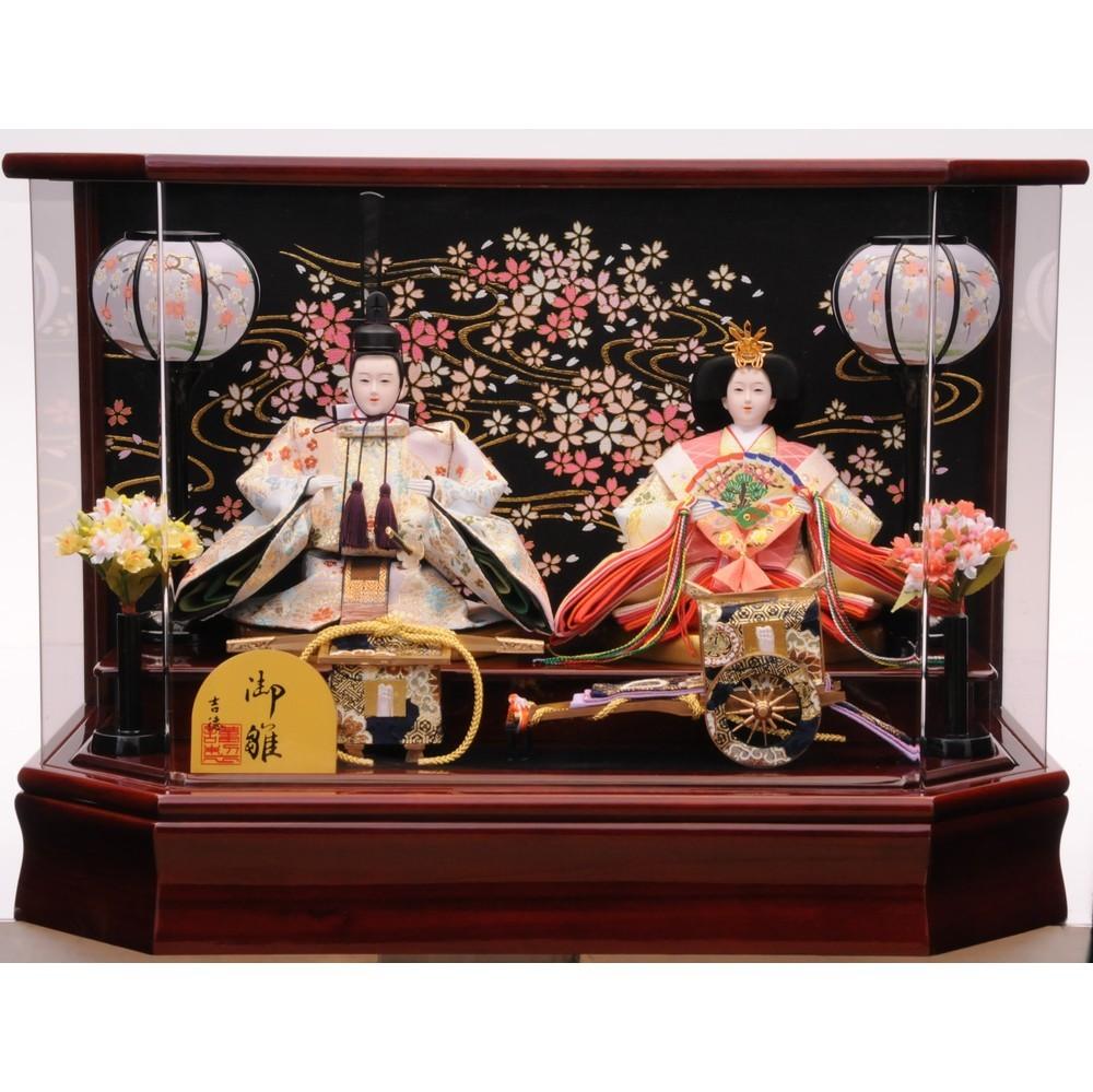 【雛人形】ベビーザらス限定 ケース親王飾り「金彩流水夜桜六角アクリル」【送料無料】