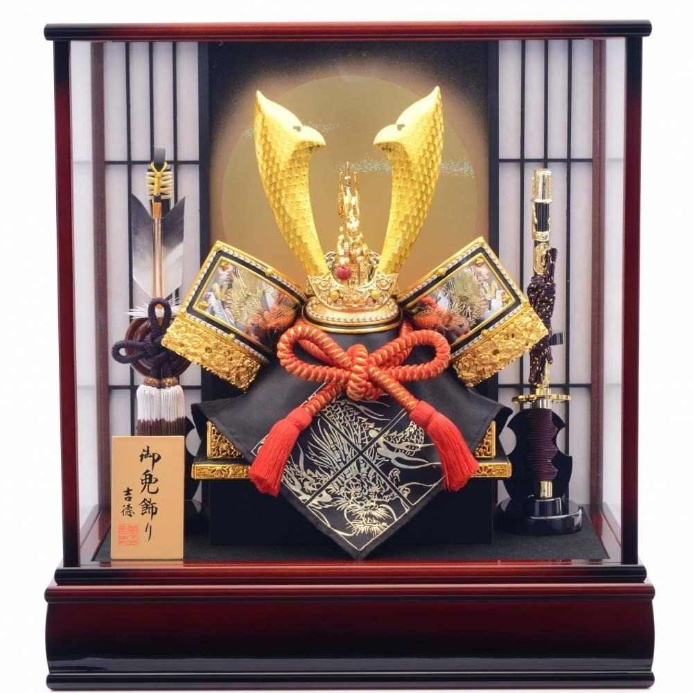 【五月人形】ベビーザらス限定 兜ケース飾り「四方龍満月格子」【オンライン限定】【送料無料】