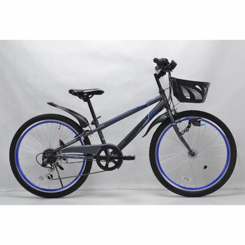 トイザらス限定 AVIGO 24インチ 子供用自転車 サベージ CIデッキ オートライト(グレー/ブルー)