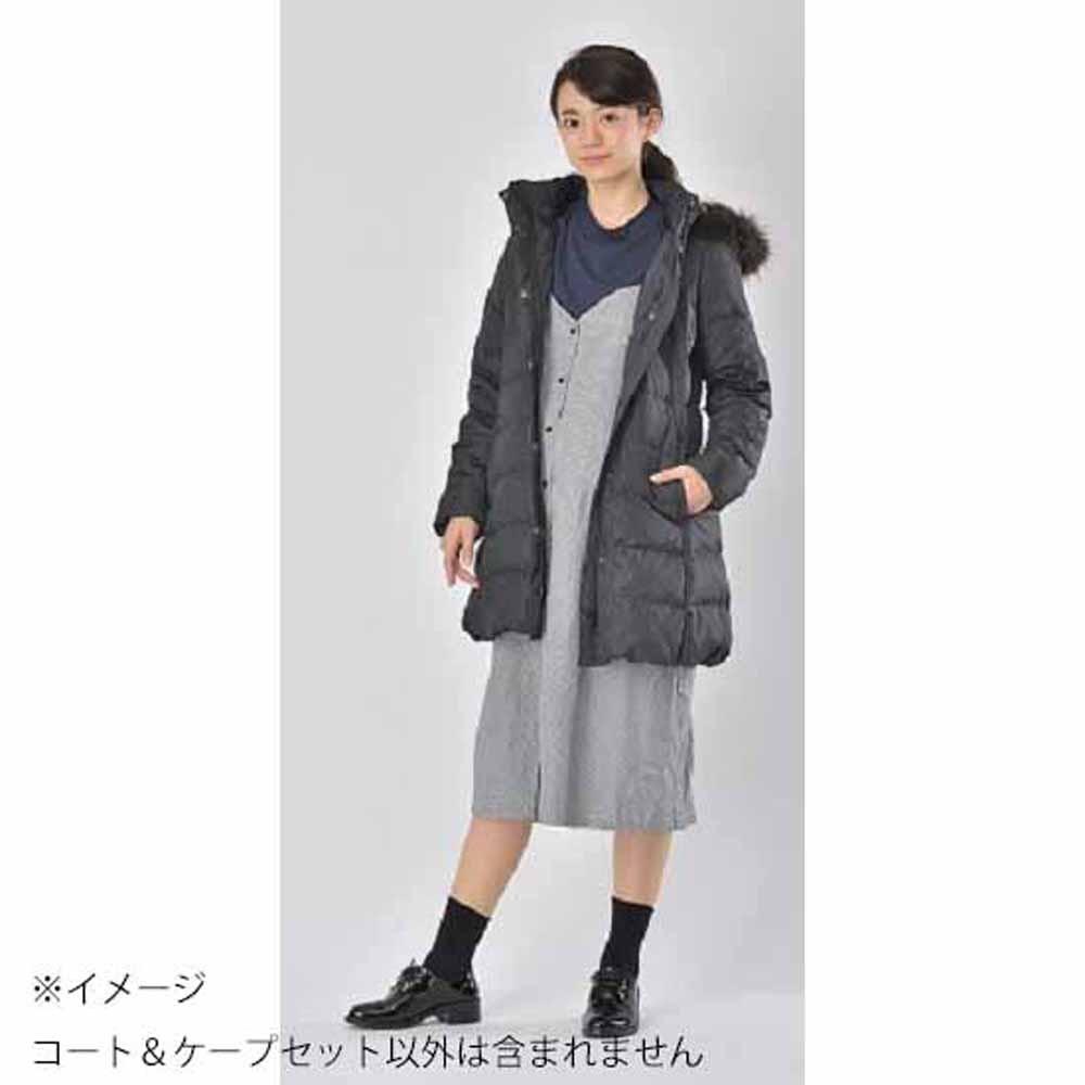 マットタフタ フード付ダウンママコート&ケープセット(ブラック×L)【送料無料】
